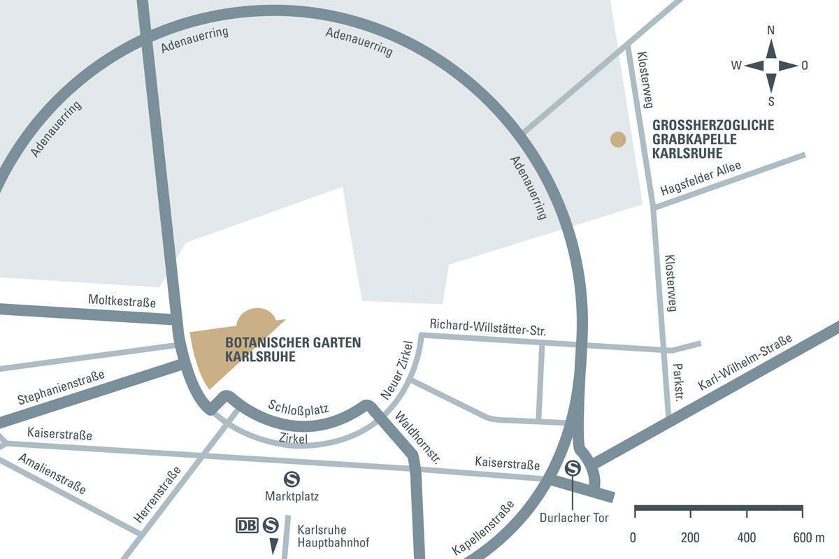 Anfahrtsskizze zur Großherzoglichen Grabkapelle und dem Botanischen Garten Karlsruhe