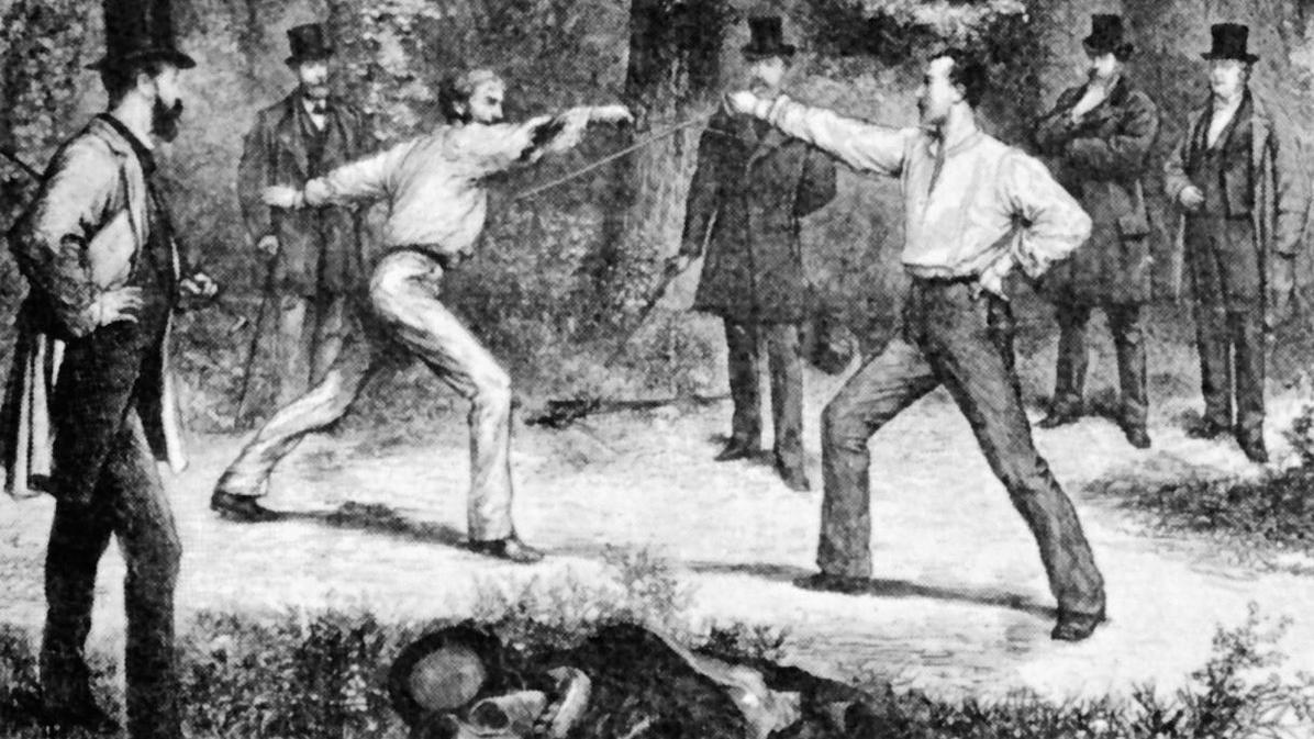 Französisches Duell, Zeichnung von Durand 1874; Foto: Wikipedia, gemeinfrei