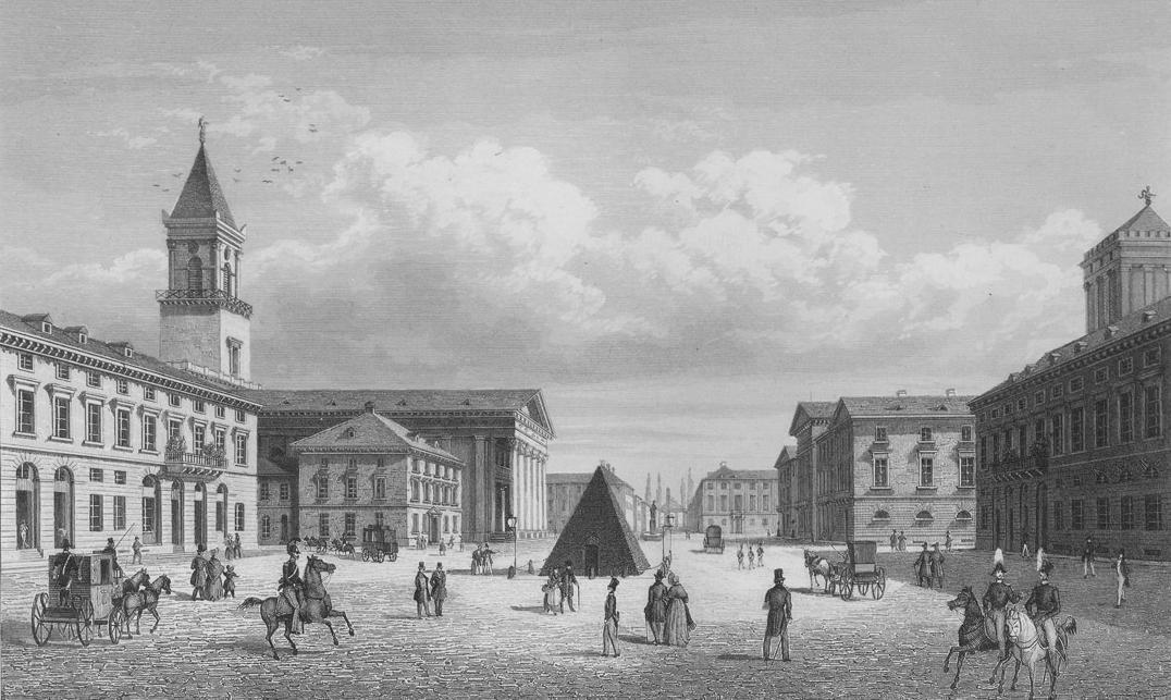 Marktplatz in Karlsruhe, Stich von Johann Gabriel Friedrich Poppel; Foto: Sandra Eberle