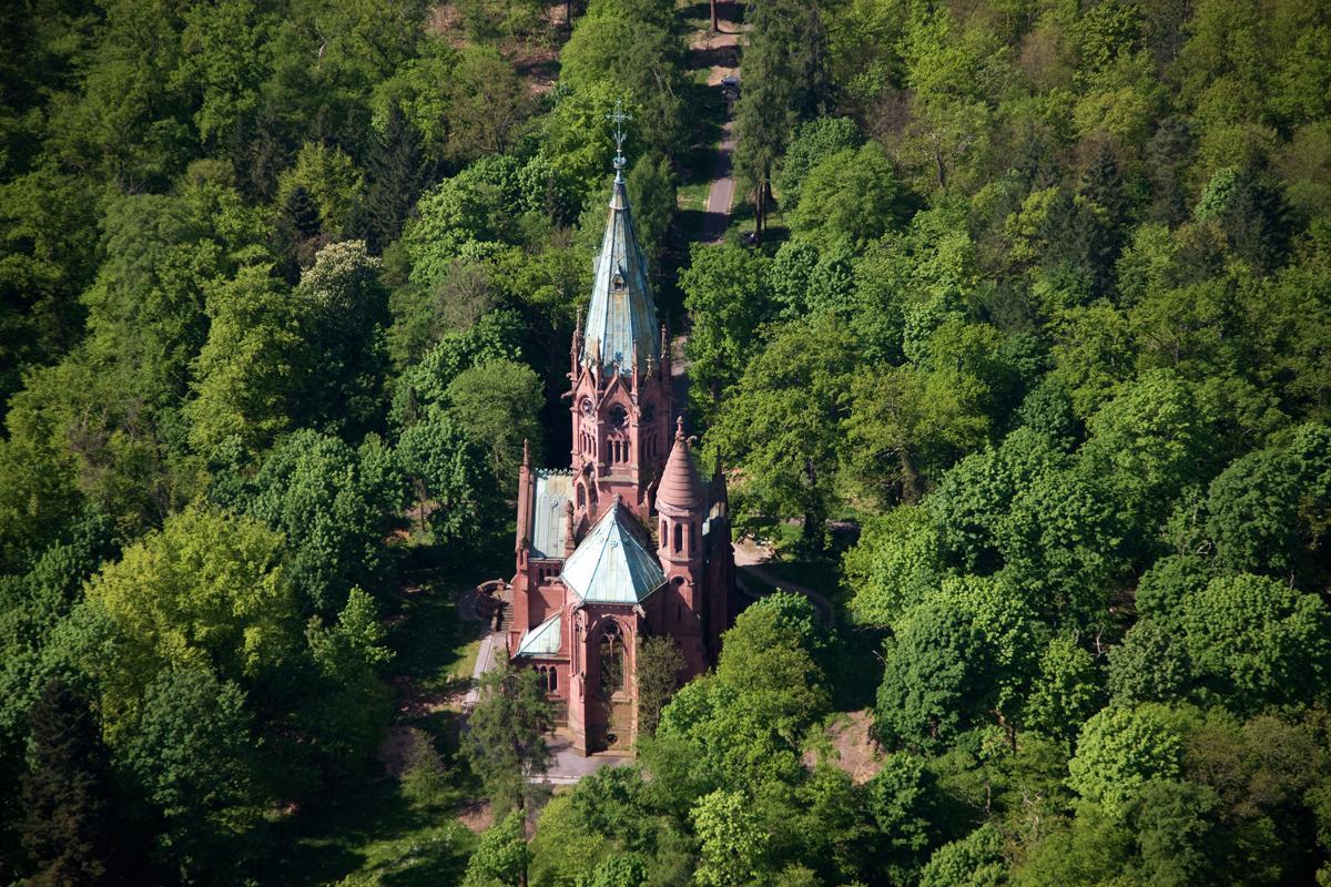 Aerial view of the Sepulchral Chapel of the Grand Duchy in Karlsruhe. Image: Staatliche Schlösser und Gärten Baden-Württemberg, Achim Mende
