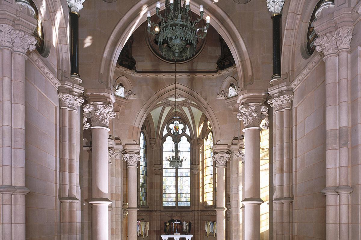 Ansicht des Innenraums der Großherzoglichen Grabkapelle Karlsruhe; Foto: Landesmedienzentrum Baden-Württemberg, Urheber unbekannt