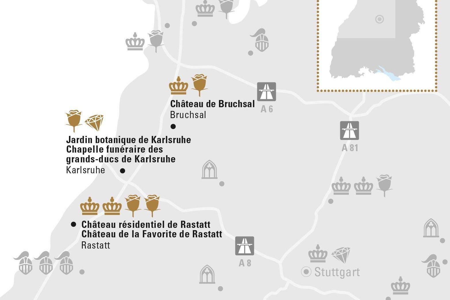 Karlsruhe et sa Région; Visuel des Staatliche Schlösser und Gärten Baden-Württemberg, Illustration JUNG:Kommunikation