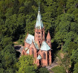 The Sepulchral Chapel of the Grand Duchy in Karlsruhe, aerial view. Image: Staatliche Schlösser und Gärten Baden-Württemberg, Achim Mende