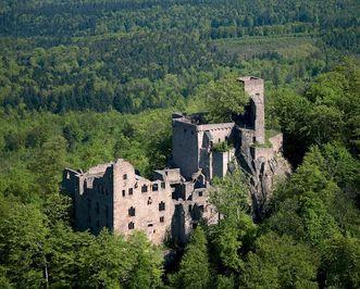 Luftaufnahme des Alten Schlosses Hohenbaden; Foto: Staatliche Schlösser und Gärten Baden-Württemberg, Achim Mende