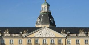The Baden coat of arms on the facade of Karlsruhe Palace