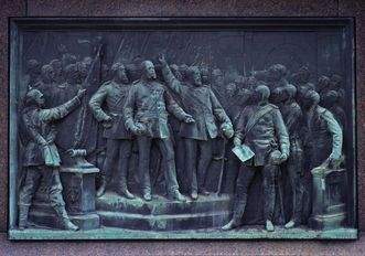 Relief on the memorial for Emperor Wilhelm I at the Kaiserplatz in Karlsruhe, 1897 by Adolf Heer. Image: Landesmedienzentrum Baden-Württemberg, Andrea Rachele