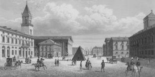 Marktplatz in Karlsruhe, Stich von Johann Gabriel Friedrich Poppel